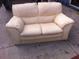 Tidy. 2 Seater. Cream. Leather. Sofa