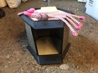 Cat litter box, bed and toys