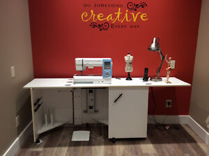 Deluxe sewing machine cabinet