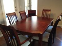 9 piece dining table set with 6 chairs and leaf