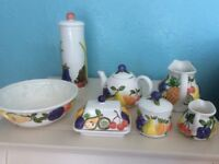 Ray ware fruit Design Country Kitchen collection of 7 vintage pieces