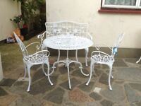 Cast Aluminium Garden Table And 2 Chairs Bench Brand New
