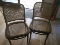 2 vintage bentwood caned dining chairs both need re-caning or fabric seat