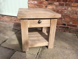 Solid oak lamp coffee table