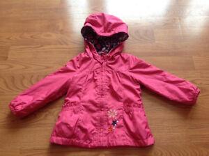 London Fog girls fleece lined jacket, flowers, 12-18 months