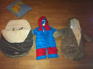 Two snow suits and one bundle me bag