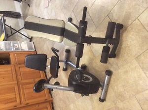 Vélo stationnaire et banc d'exercise