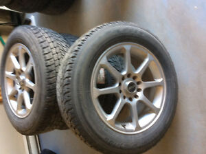 Set of tires on rims