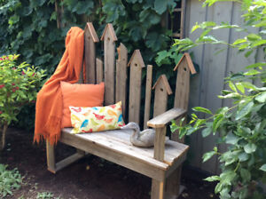 GIFT of ART for the GARDEN.  RUSTIC CEDAR BENCH