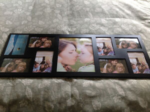 Black solid wood picture frame collage