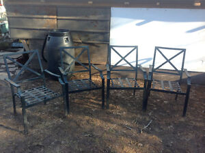 4 metal arm patio chars - $ 5 each - We also have cushions!