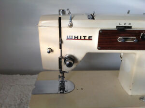 Vintage golden WHITE sewing machine with table