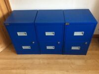 Three Blue metal two drawer filing cabinets