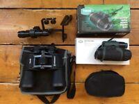Yukon NVMT1 2x24 night vision scope & Bresser 10x50 binoculars & extras