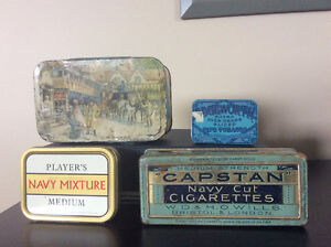 Vintage and antique tobacco and candy tins.