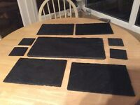 Slate table mats, coasters and serving mat