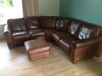Italalian leather corner set sofa