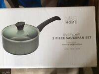 MADE IN GREAT BRITAIN BRAND NEW MARKS & SPENCER SAUCEPAN SET
