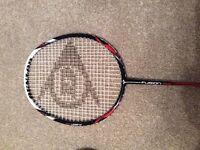 Dunlop badminton racket, case & shuttlecocks