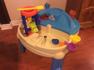 Children's sand and water play table with accessories