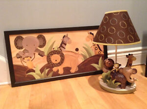Lambs & Ivy Animal themed Lamp and matching Picture