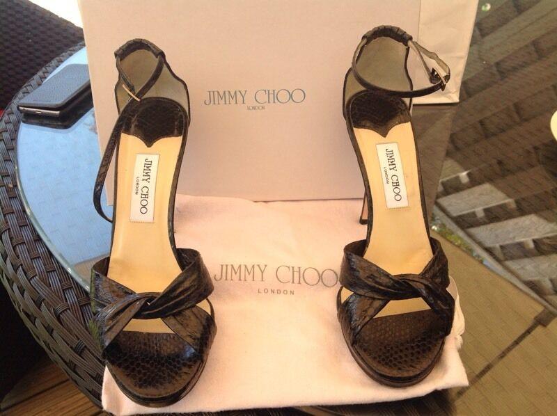 Jimmy Choo Black Elaphe Snake Shoes Size 40