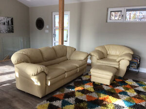 Yellow Leather Couch, Chair & Ottoman