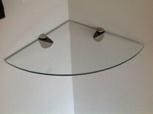 "12"" floating corner tempered glass shelf"