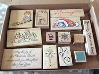 Christmas themed rubber stamps