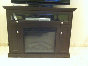 BLACK ELECTRIC FIREPLACE AND MEDIA UNIT