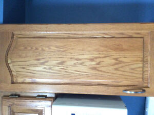 Oak Kitchen Cupboards - solid oak with raised central panel