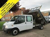 2013 13 FORD TRANSIT 2.2 T350 TIPPER D/CAB. PICK UP. DROPSIDE. FSH. 1 OWNER.