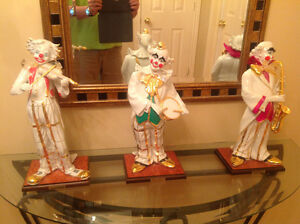 Clowns (3) Musiciens porcelaine Or Crystal 18 po $290 ch