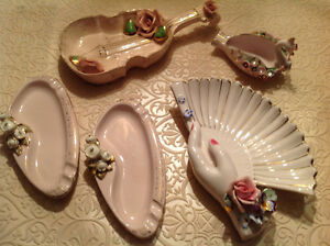 1950's collection Vtg. L'amour hand painted trinket dishes
