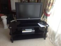 """26"""" TV, Daewoo digital receiver and glass TV table"""