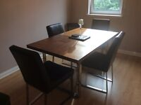 Dining room table and 4 leather chairs