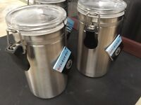 Brabantia Brushed Steel Storage Canisters x3