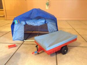 Vintage Barbie doll tent with storage trailer
