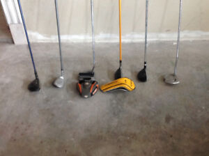 A variety of golf clubs