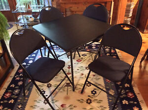 CARD TABLE + FOUR CHAIRS