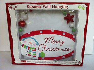 Hand Painted Ceramic Wall Hanging Embossing & Glitter Accent