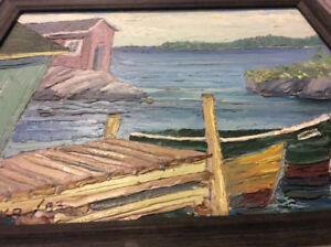 Oil on board painting by John Topelko, 1983, signed