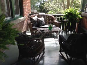 Antique Wicker Loveseat and Two Rocking Chairs