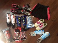 Cleats, shin pads shirts used and new