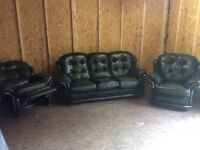 Leather sofa and chair plus recliner £550