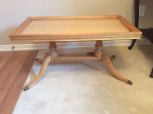 Pedestal coffee table with glass tray $45.00