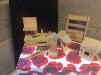 Wooden Doll's House Kitchen Furniture Set