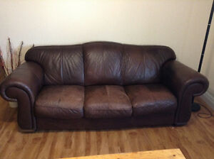 Matching Brown Leather Couch and Chair/Foot Stool