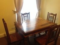 Dining Table & 4 Chairs (Solid Sheesham)
