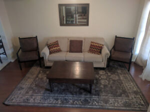 Beige white sofa and two chairs still under warranty